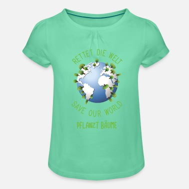 Save the World Planting Trees Gift - Girls' Ruffle T-Shirt