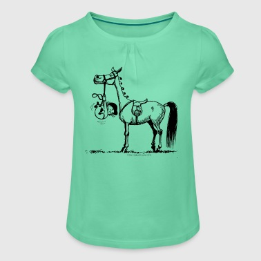 Stubborn Pony Thelwell Cartoon - Girl's T-shirt with Ruffles