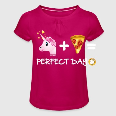 SmileyWorld Unicorn Plus Pizza = Perfect Day - Jente-T-skjorte med frynser
