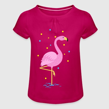 Animal Planet Cute Flamingo Illustration - Girl's T-shirt with Ruffles