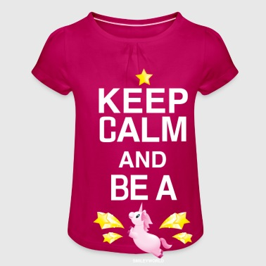 SmileyWorld Keep Calm And Be A Unicorn - Jente-T-skjorte med frynser