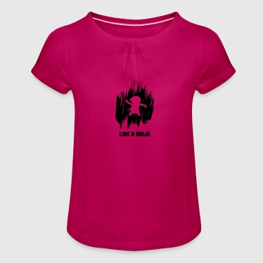 Ninja, Karate, Funny design - Girl's T-Shirt with Ruffles