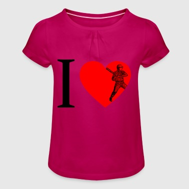 I love baseball, baseball - Girl's T-Shirt with Ruffles