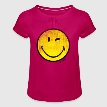 SmileyWorld Classic Winking Smiley - Camiseta para niña con drapeado