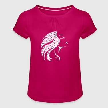Womens Face Women's face made of dots - Girl's T-Shirt with Ruffles