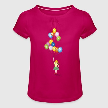 birthday baby girl balloons - Girl's T-Shirt with Ruffles