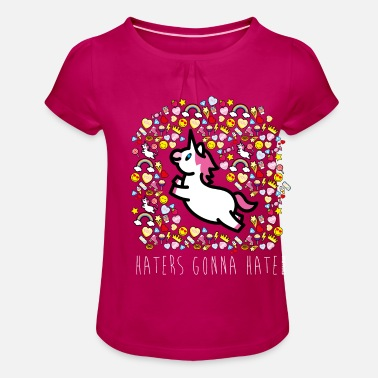 Haters Gonna Hate SmileyWorld Licorne Haters Gonna Hate - T-shirt à fronces au col Fille