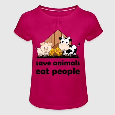 Save animals, eat people - Girl's T-Shirt with Ruffles