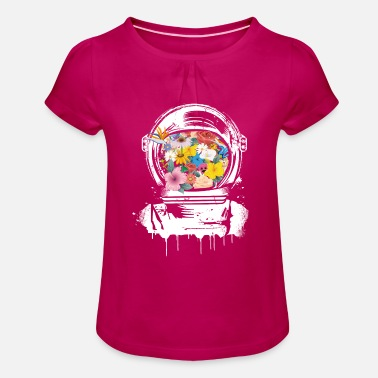 Space-helmet Astronaut Space Helmet with flowers - Girl's T-Shirt with Ruffles