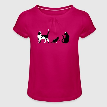 three cats - Girl's T-Shirt with Ruffles