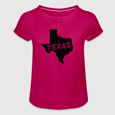 Texas Motto and Vintage Nickname - Girl's T-Shirt with Ruffles