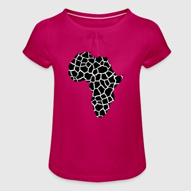 AFRICA - Continent of giraffes pattern - Girl's T-Shirt with Ruffles