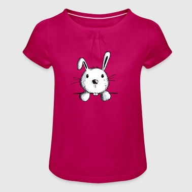 Curious hare - rabbits - rabbits - rabbits - Girl's T-Shirt with Ruffles