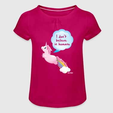 Unicorn SmileyWorld I don't belive in Humans - Girl's T-Shirt with Ruffles