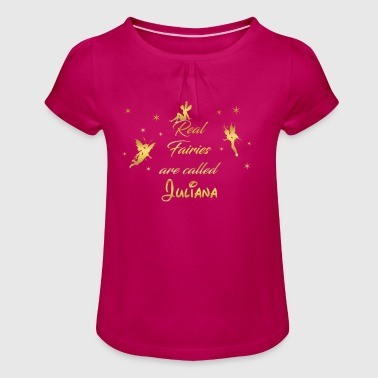 fee fairies fairy vorname name Juliana - Mädchen-T-Shirt mit Raffungen