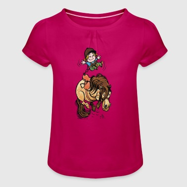 Thelwell Funny Illustration Bucking Horse - Girl's T-Shirt with Ruffles