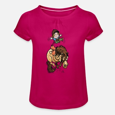Officialbrands Thelwell Funny Illustration Bucking Horse - Girl's T-Shirt with Ruffles