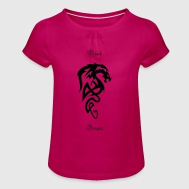 Tribal Dragon dragón tribal - Camiseta para niña con drapeado