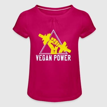 Vegan Power - Fit Sport Fitness Bodybuilding - Maglietta da ragazza con arricciatura