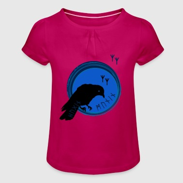 The ravens of Odin symbol Hugin and Munin - Girl's T-Shirt with Ruffles