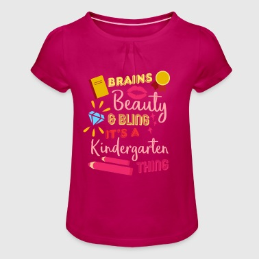 brains beauty bling - Girl's T-Shirt with Ruffles