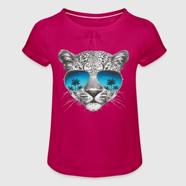 Cool Planet Animal Planet Leopard Cool - Girl's T-Shirt with Ruffles