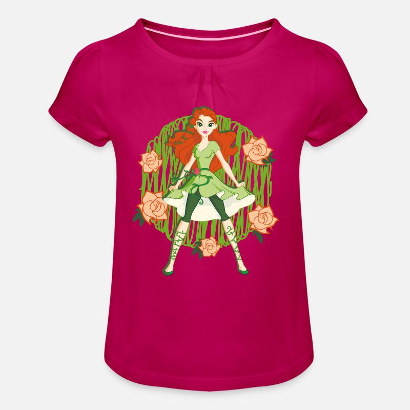 Poison T-shirts - DC Super Hero Girls Poison Ivy Roses - T-shirt à fronces Fille fuchsia