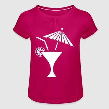 Cocktail umbrella straw lemon drink - Girl's T-Shirt with Ruffles