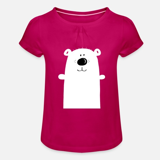 Birthday T-Shirts - Cuddly polar bear - polar bear - bear - children - Girls' Ruffle T-Shirt fuchsia