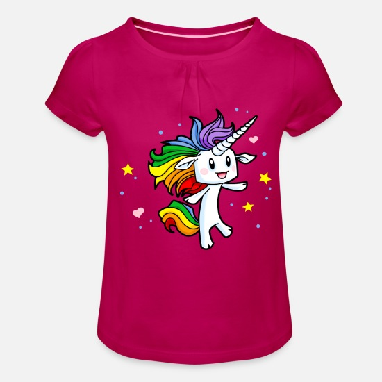 Gay T-shirts - Magique arc-en-Unicorn - T-shirt à fronces Fille fuchsia