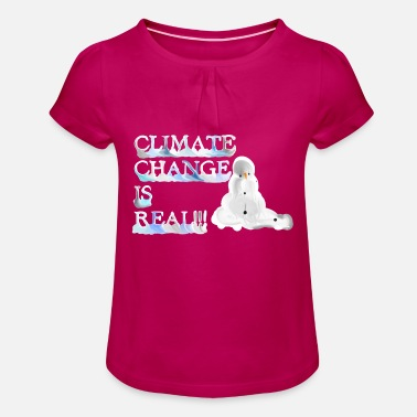 Climate change is real melting snowman - Mädchen T-Shirt mit Raffung