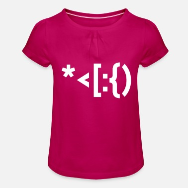 Punctuation Marks Santa from punctuation marks. - Girls' Ruffle T-Shirt
