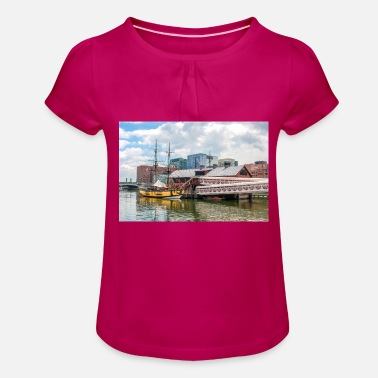 USA Massachusetts Boston Historic Harbor poster - Mädchen T-Shirt mit Raffung