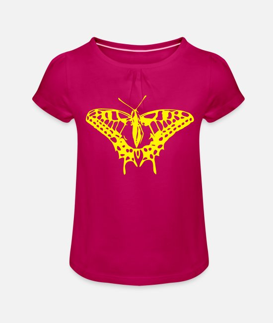 Nature T-Shirts - Great butterfly in strong colors - Girls' Ruffle T-Shirt fuchsia
