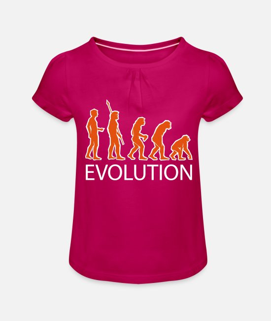 Darwin T-Shirts - evolution - Girls' Ruffle T-Shirt fuchsia