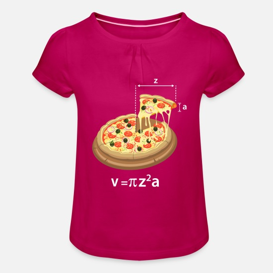 Wiskunde T-shirts - Pi Day Pizza Meme Math Math Teacher Geek - Meisjes T-shirt met plooien fuchsia