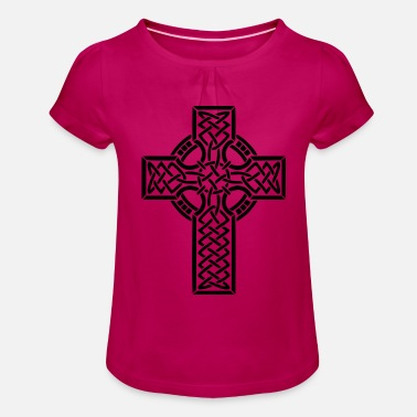 Celtic Knotwork Celtic cross - Girl's T-Shirt with Ruffles