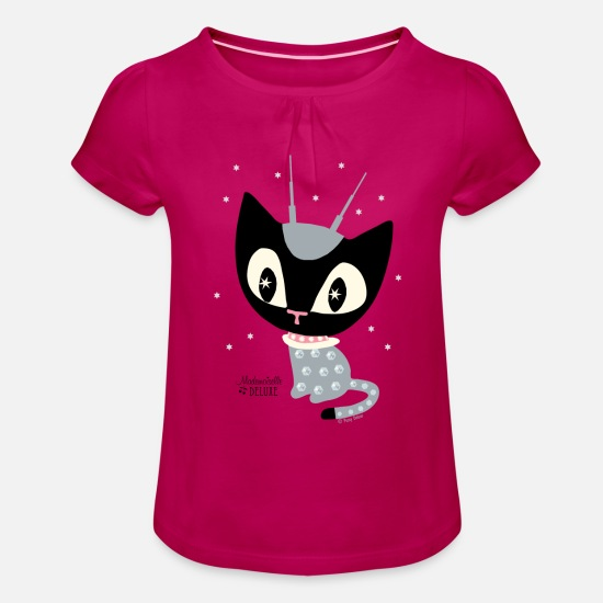 Cat T-Shirts - Mademoiselle Deluxe Robot Cat - Girls' Ruffle T-Shirt fuchsia