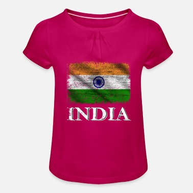 India India Flag, India - Girls' Ruffle T-Shirt