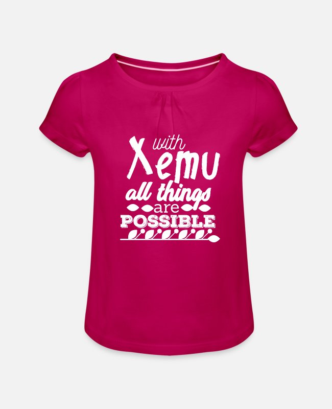 Bibel T-Shirts - With Xemu All Things are Possible - White - Mädchen T-Shirt mit Raffung Fuchsia
