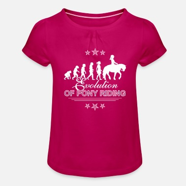 Evolution of Pony Riding Reitershirt für Kinder - Mädchen T-Shirt mit Raffung