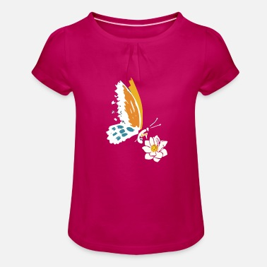 Cool Butterfly and flower gift - Girls' Ruffle T-Shirt