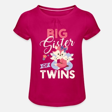Twins Big sister of twins pregnancy - Girls' Ruffle T-Shirt