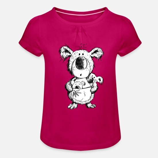 School Girls T-Shirts - Koala Mom With Babies - Girls' Ruffle T-Shirt fuchsia