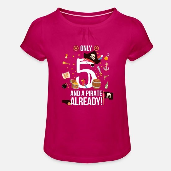 "Birthday T-Shirts - 5th Birthday Boy ""Only 5 And A Pirate Already"" - Girls' Ruffle T-Shirt fuchsia"