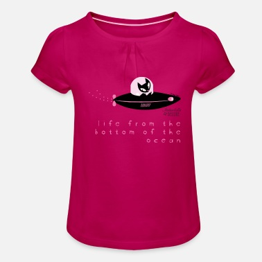 Mademoiselle Deluxe Submarine Cat - Girl's T-Shirt with Ruffles