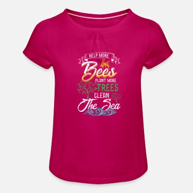 Help Bees Plant Trees Beekeeping Birthday Gift - Girls' Ruffle T-Shirt
