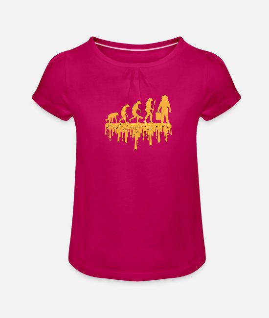 Honey T-Shirts - Beekeeper bees honey gift funny birthday - Girls' Ruffle T-Shirt fuchsia