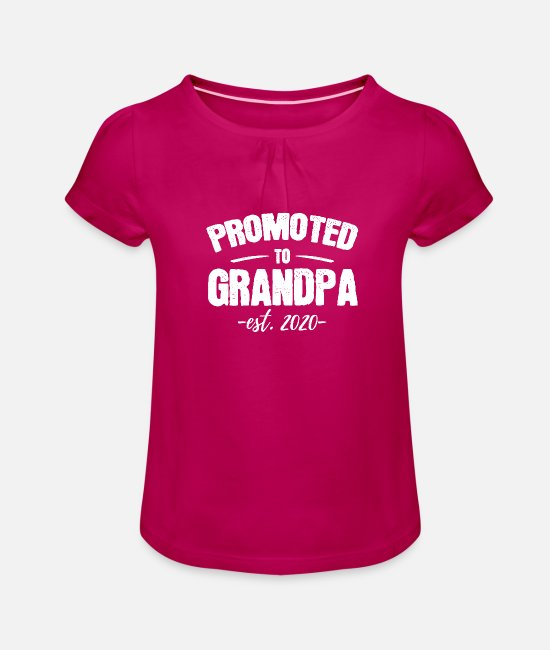 Father's Day T-Shirts - Promoted to Grandpa 2020 New Grandfather to be - Girls' Ruffle T-Shirt fuchsia