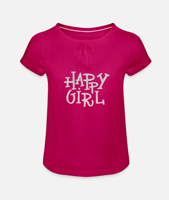 Baby Panda T-Shirts - Happy girl - Girls' Ruffle T-Shirt fuchsia
